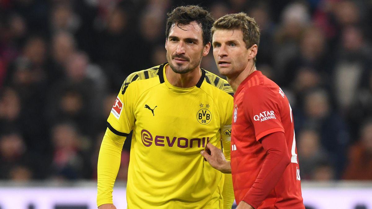Mats Hummels von Borussia Dortmund und Thomas Müller vom FC Bayern