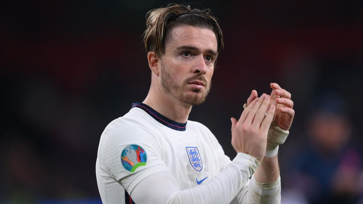 England's midfielder Jack Grealish greets the fans after their loss in the UEFA EURO 2020 final football match between Italy and England at the Wembley Stadium in London