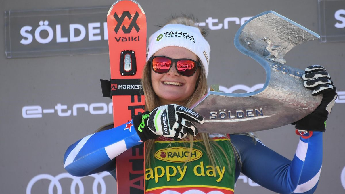 Winner New Zealand's Alice Robinson poses on the podium of the Women's giant slalom at the FIS ski World cup on October 26, 2019 in Soelden, Austria