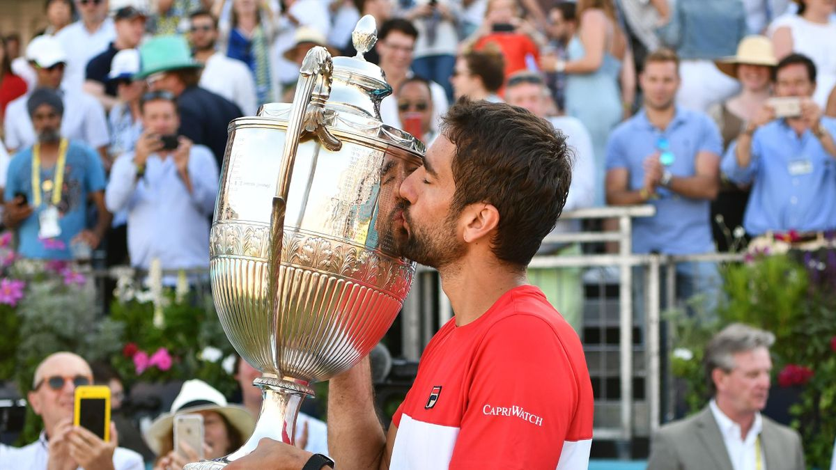 Marin Cilic celebrates with the trophy