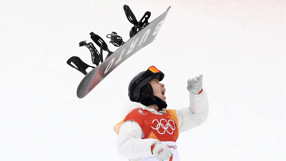 Shaun White montre sa joie après la finale du halfpipe / JO de Pyeongchang