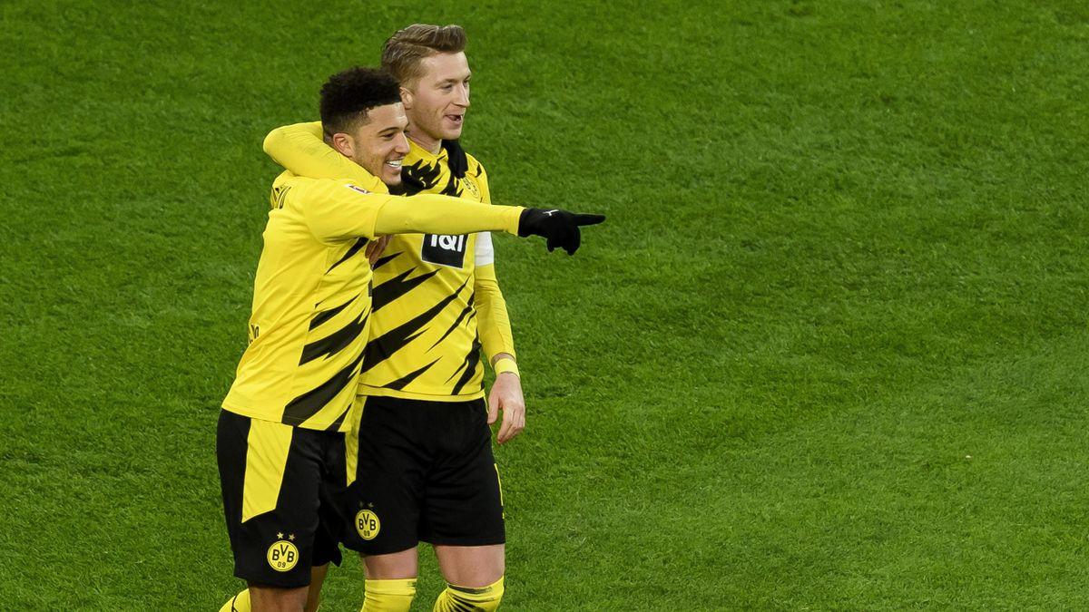 Jubel bei den BVB-Stars Jadon Sancho und Marco Reus