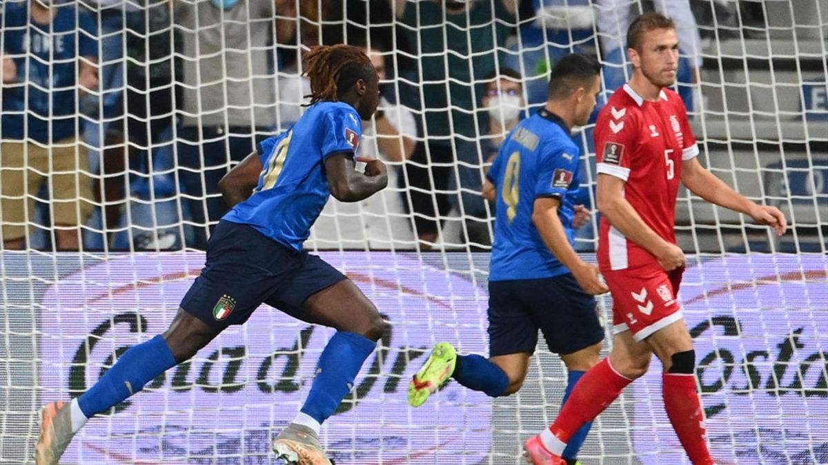 Esultanza Moise Kean-Raspadori durante Italia-Lituania - Qualificazioni Mondiali 2022 Qatar