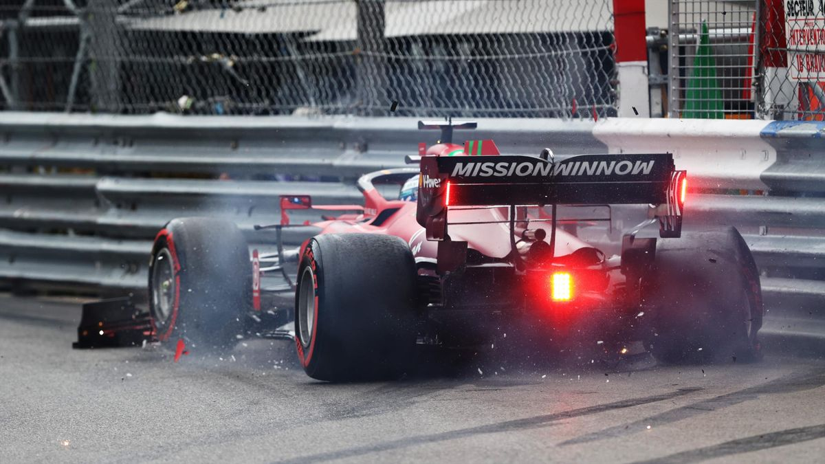 Pole position qualifier Charles Leclerc of Monaco and Ferrari crashes during qualifying for the F1 Grand Prix of Monaco at Circuit de Monaco on May 22, 2021 in Monte-Carlo, Monaco