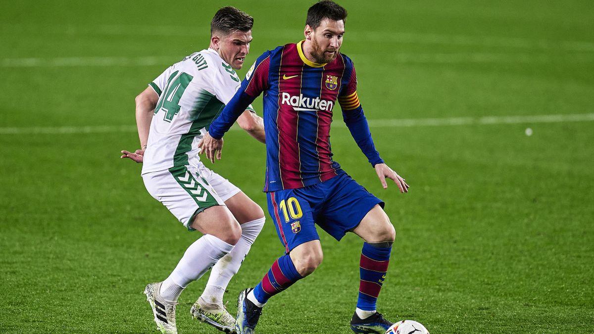 Barças Lionel Messi (rechts) im Spiel gegen den FC Elche