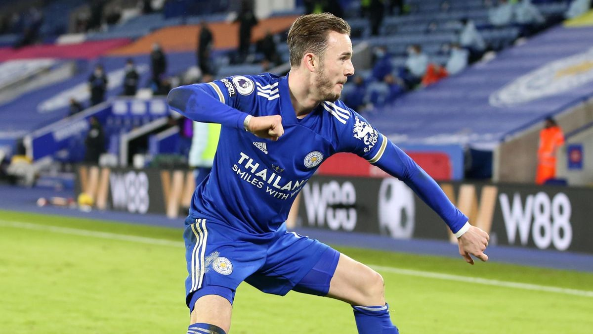 James Maddison celebrates scoring against Chelsea