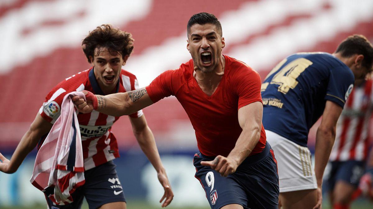 Luis Suarez esulta dopo il gol vittoria contro l'Osasuna, Atletico Madrid, Getty Images