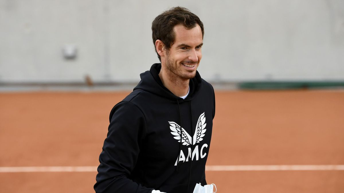 Andy Murray of Great Britain looks on during a training session