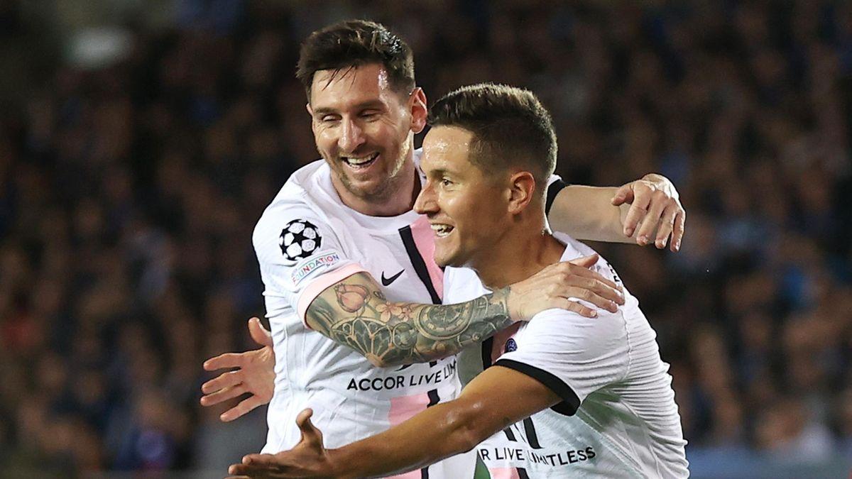 Lionel Messi (L) and Ander Herrera