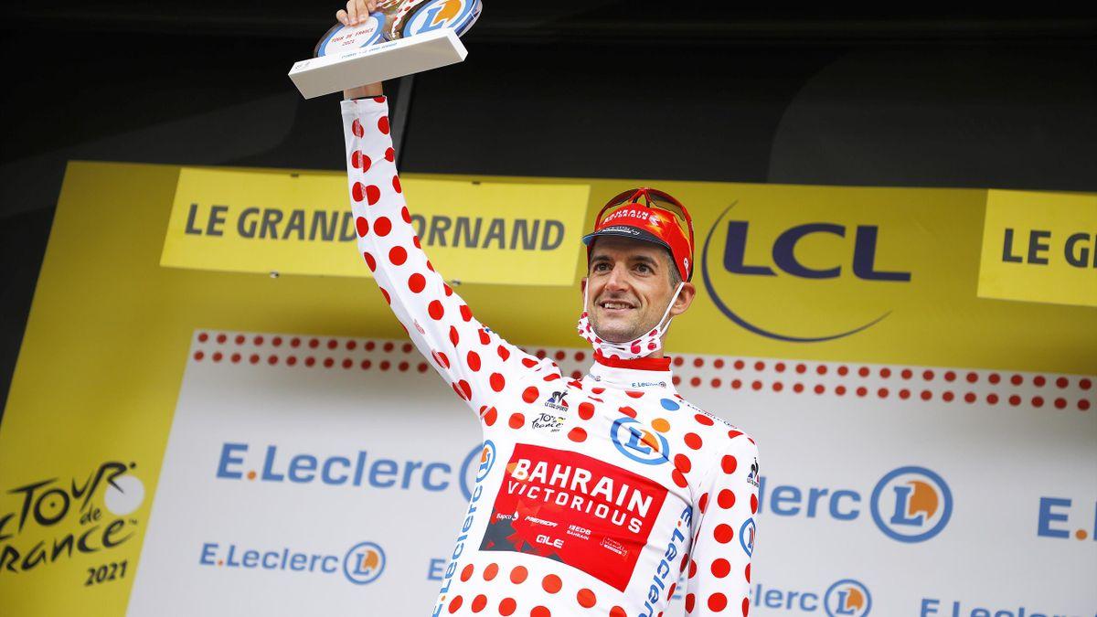 Wout Poels (Bahrain-Victorious) endosse le maillot à pois à l'issue de la 8e étape du Tour 2021