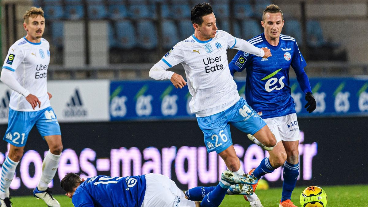 Florian Thauvin (Marseille)contre Strasbourg - Ligue 1