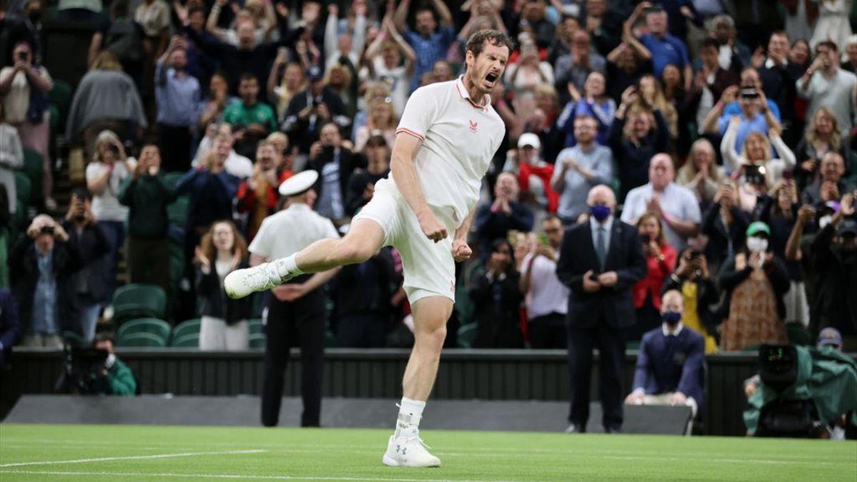 Andy Murray après sa victoire sur Nikoloz Basilashvili à Wimbledon le 28 juin 2021