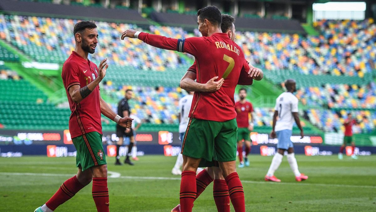 Portugal's forward Cristiano Ronaldo celebrates scoring their second goal during the international friendly football match between Portugal and Israel at the Jose Alvalade stadium in Lisbon in preparation for the UEFA EURO 2020 football competition, on Ju
