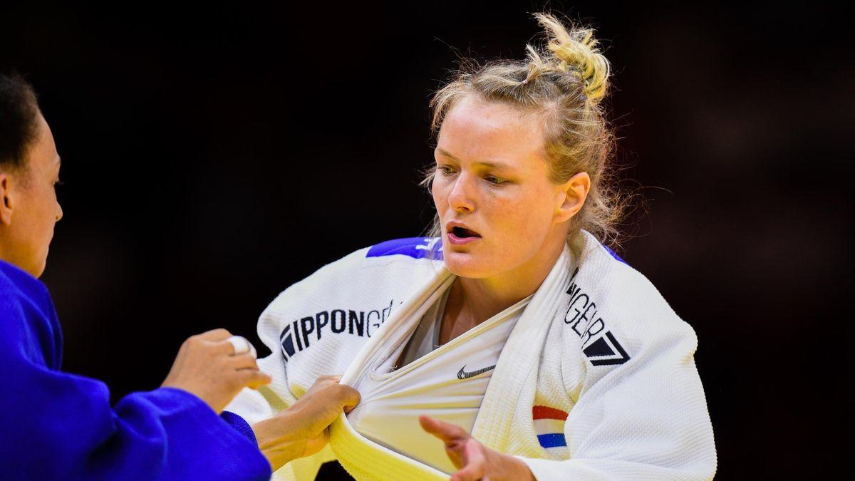 Sanne van Dijke op het WK Judo 2021 in Hongarije