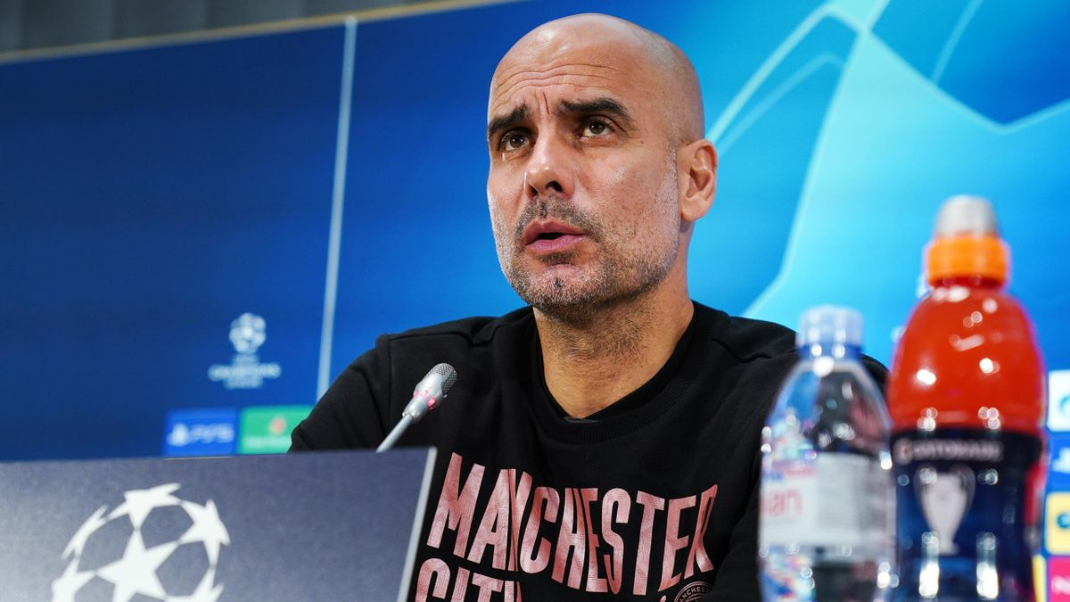 Pep Guardiola, manager of Manchester City and Riyad Mahrez of Manchester City speak to the media via a virtual press conference at the Interncontinental Hotel on October 26, 2020 in Marseille, France