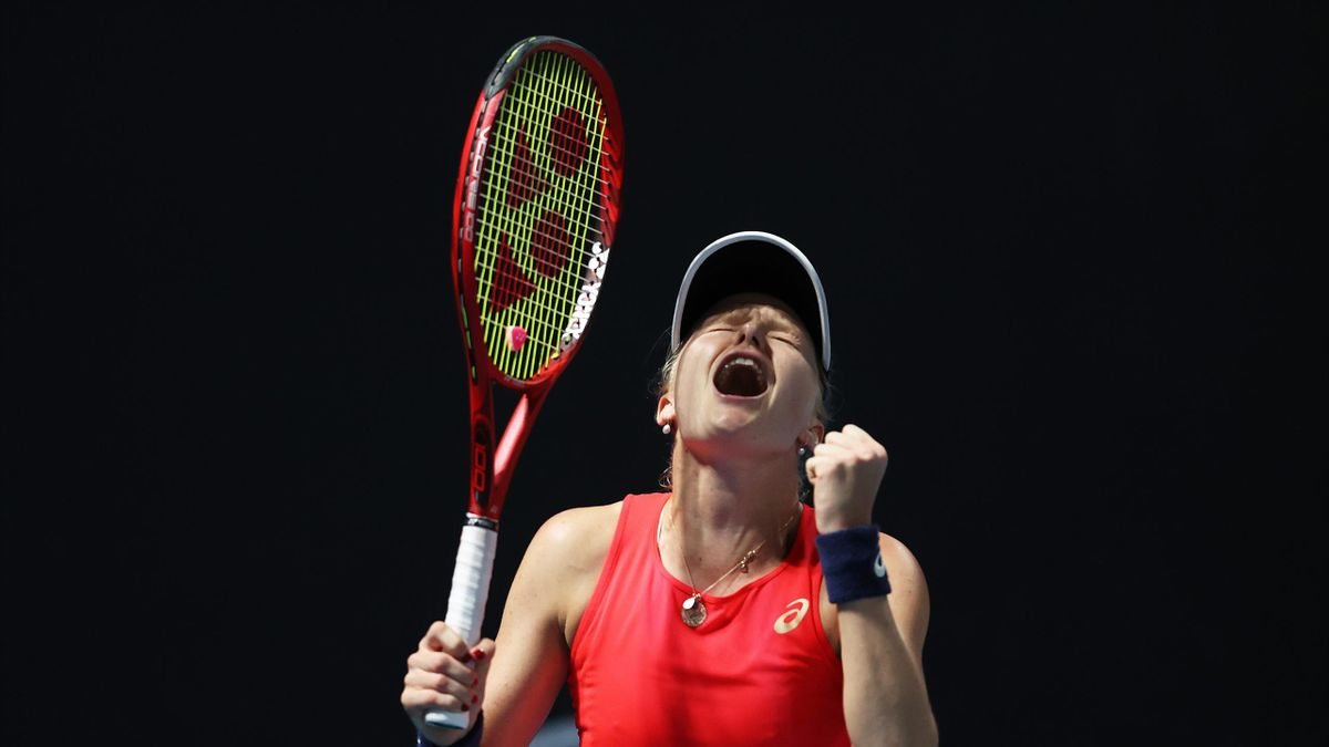 Harriet Dart of Great Britain celebrates match point during her Women's Singles first round match against Misaki Doi of Japan on day two of the 2020 Australian Open at Melbourne Park on January 21, 2020 in Melbourne, Australia.