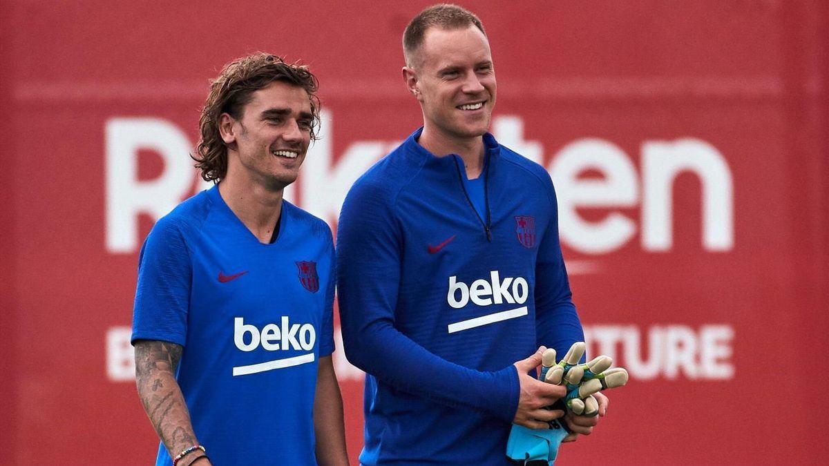 Antoine Griezmann und Marc-André ter Stegen vom FC Barcelona