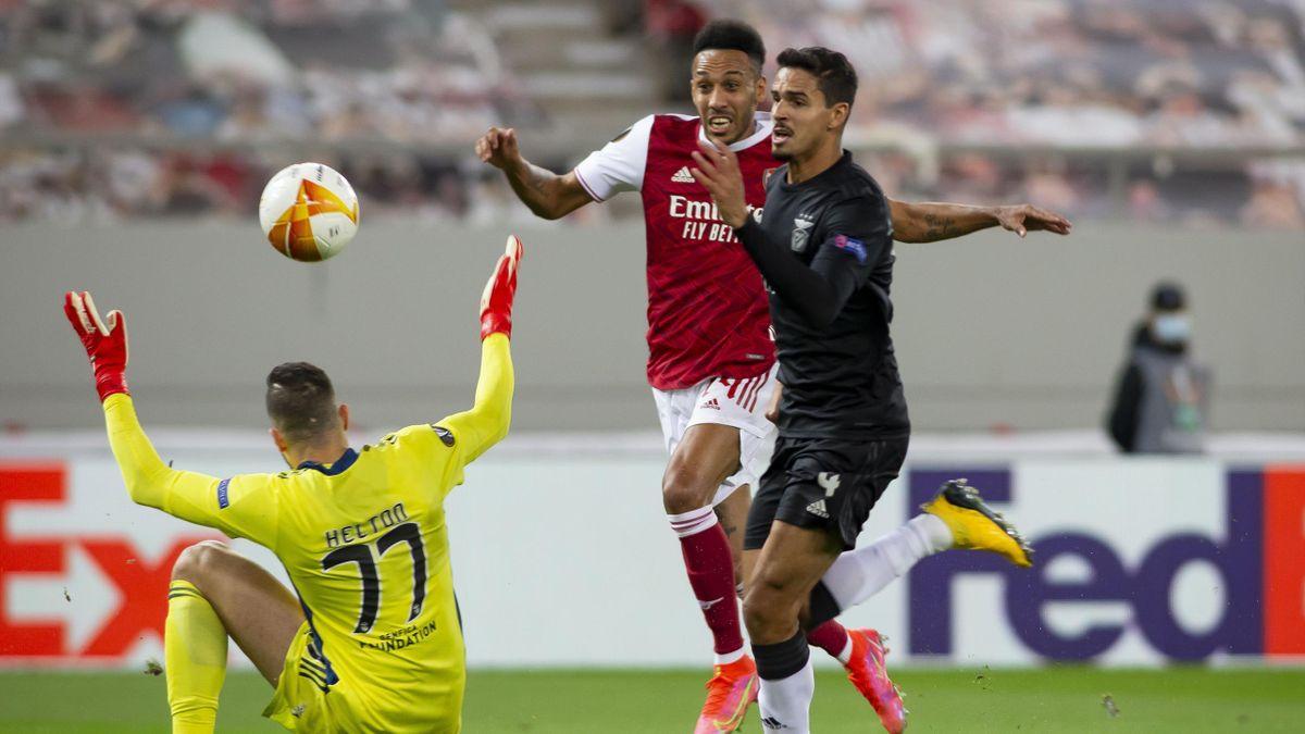 Arsenals Pierre-Emerick Aubameyang schnürte einen Doppelpack gegen Benfica Lissabon