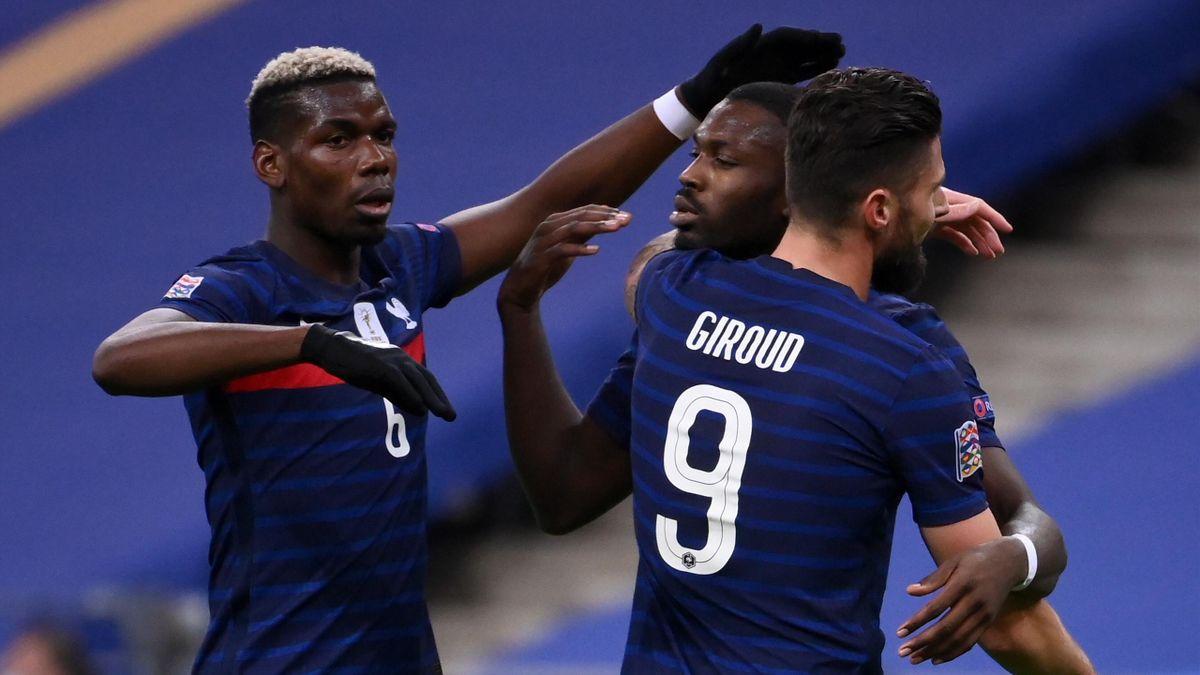 Pogba, Thuram et Giroud se congratulent