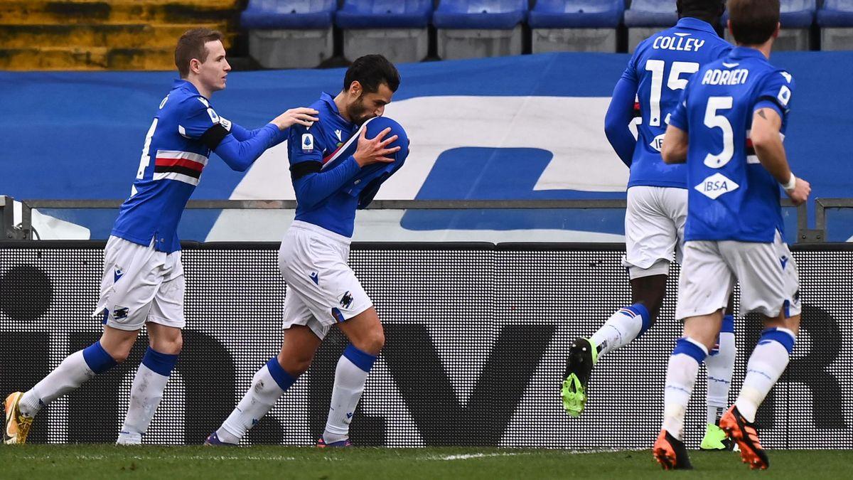 Sampdoria-Inter. Candreva esulta dopo aver segnato il rigore