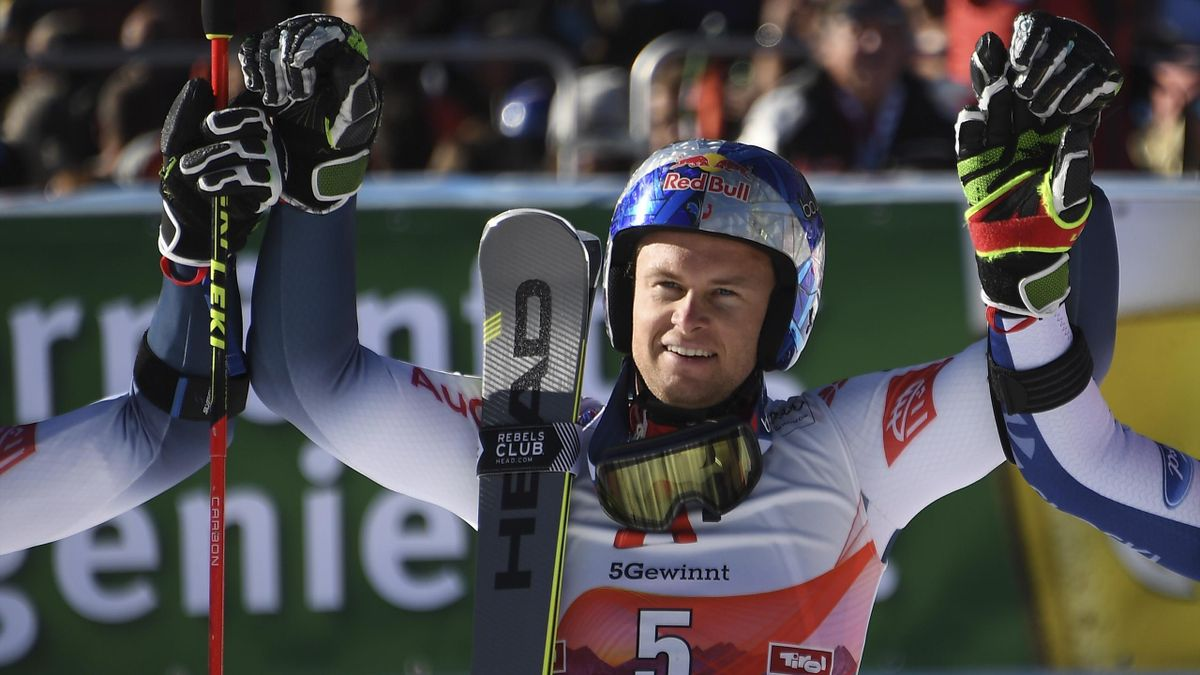 Alexis Pinturault of France reacts after competing to win the men's Giant Slalom event of the FIS ski alpine world cup opening in Soelden, Austria, on October 27, 2019.
