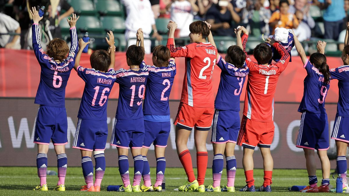 Japan celebrate winning their World Cup semi-final against England