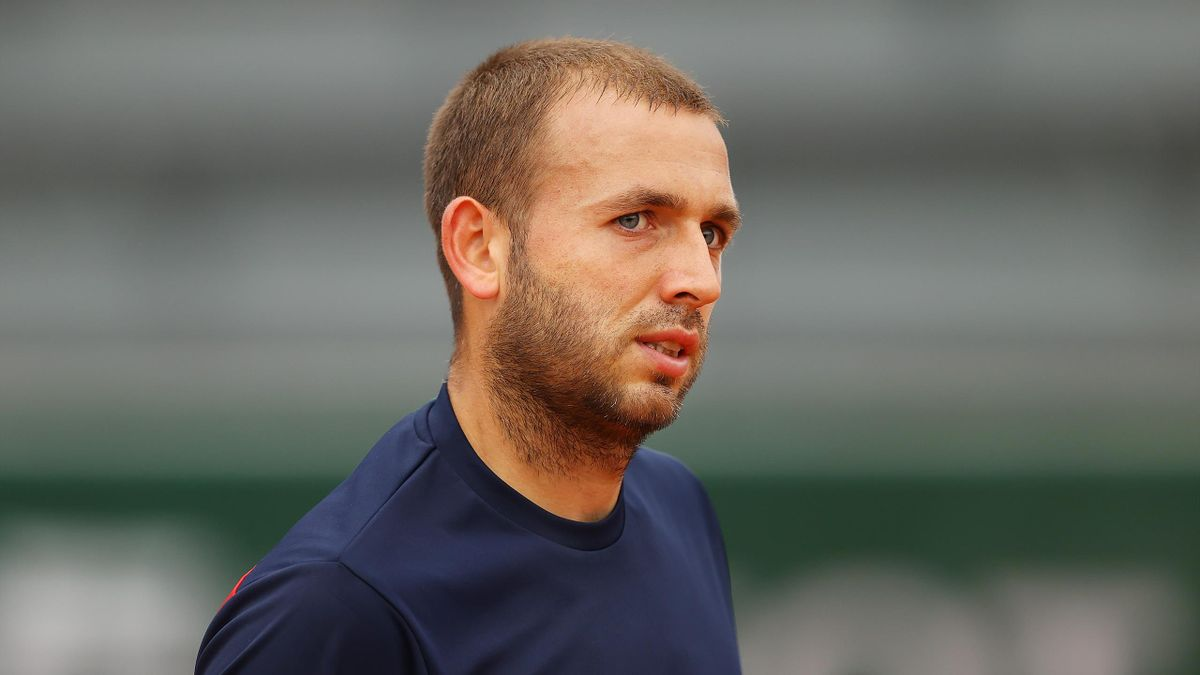 Daniel Evans of Great Britain looks on during his Men's Singles first round match against Kei Nishikori of Japan during day one of the 2020 French Open at Roland Garros