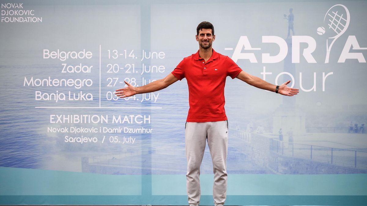 Novak Djokovic presentando el Adria Tour