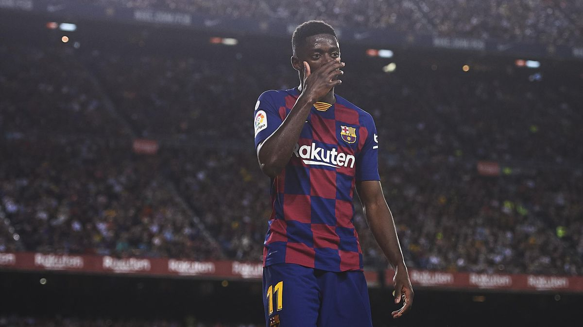 BARCELONA, SPAIN - OCTOBER 06: Ousmane Dembele of FC Barcelona looks on during the Liga match between FC Barcelona and Sevilla FC at Camp Nou on October 06, 2019 in Barcelona, Spain. (Photo by Aitor Alcalde/Getty Images)