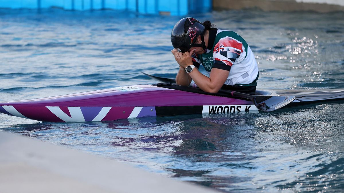 Kimberley Woods of Team Great Britain reacts after her run in the Women's Kayak Slalom Final on day four of the Tokyo 2020 Olympic Games at Kasai Canoe Slalom Centre on July 27, 2021 in Tokyo