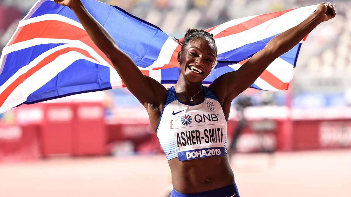 Doha , Qatar - 2 October 2019; Dina Asher-Smith of Great Britain celebrates after winning the Women's 200m Final during day six of the 17th IAAF World Athletics Championships Doha 2019 at the Khalifa International Stadium in Doha, Qatar. (Photo By Sam Bar