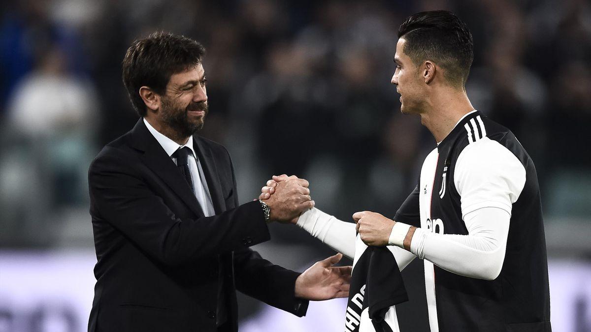Juventus chairman Andrea Agnelli with Cristiano Ronaldo
