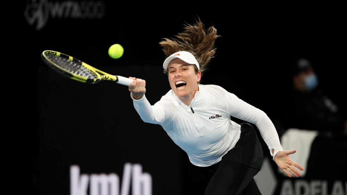 Johanna Kontaw as beaten in the last-16 of the Adelaide International by Shelby Rogers