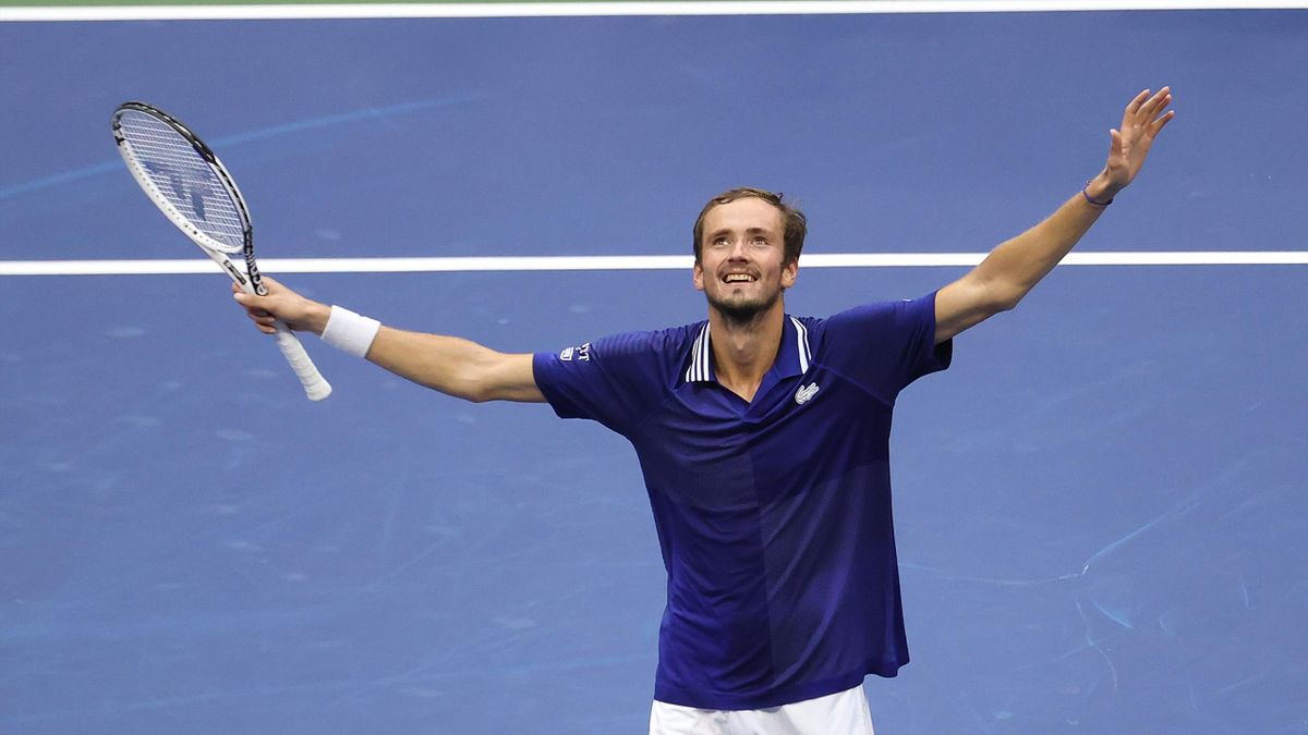 Daniil Medvedev of Russia celebrates defeating Novak Djokovic of Serbia to win their Men's Singles final match on Day Fourteen of the 2021 US Open at the USTA Billie Jean King National Tennis Center
