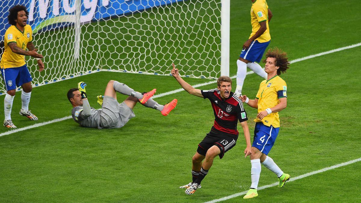 Thomas Müller (Deutschland) bejubelt seinen Treffer beim 7:1 gegen Brasilien