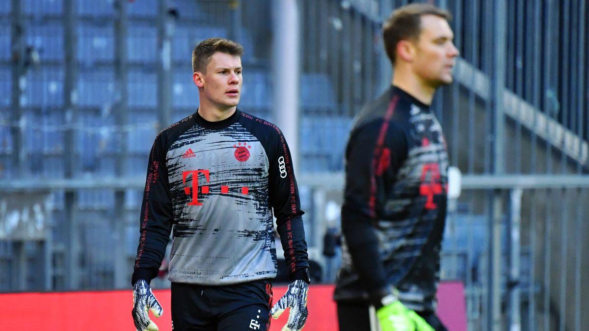 Bayern-Keeper Alexander Nübel (li.) und Manuel Neuer (re.)
