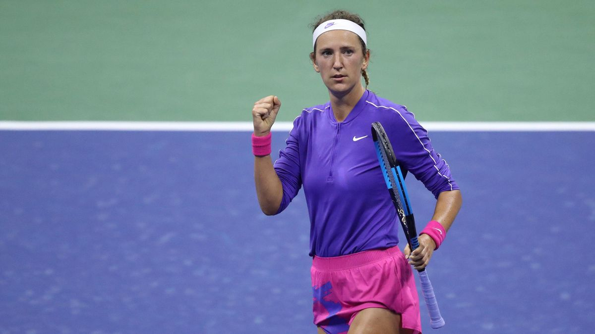 Victoria Azarenka of Belarus celebrates a point