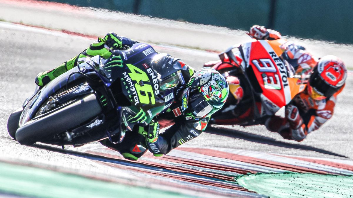 Valentino Rossi of Monster Energy Yamaha MotoGP Team and Marc Marquez of Repsol Honda Team during the MotoGP of San Marino - Practice at Misano World Circuit on September 14, 2019 in Misano Adriatico, Italy