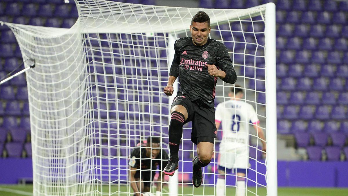 Casemiro célèbre son but lors de la rencontre Valladolid - Real Madrid en Liga