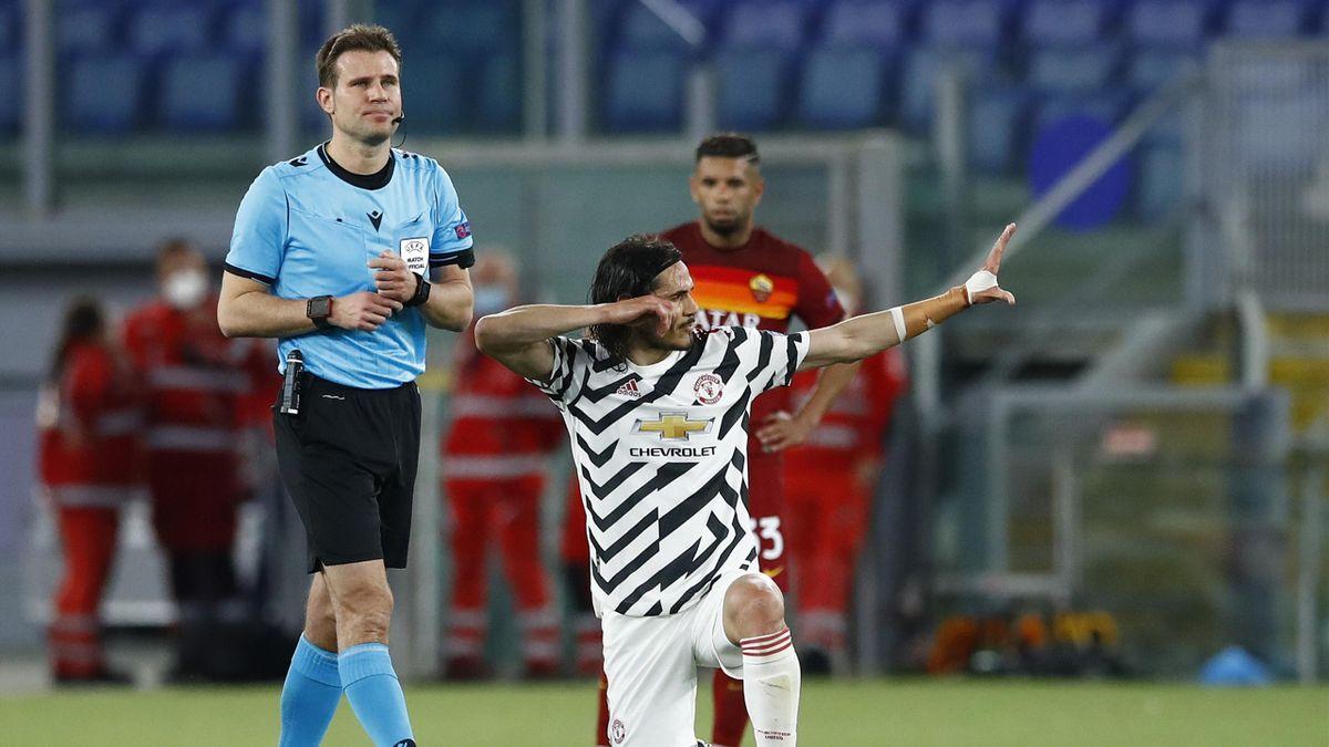 Edinson Cavani jubelt - AS Rom vs. Manchester United