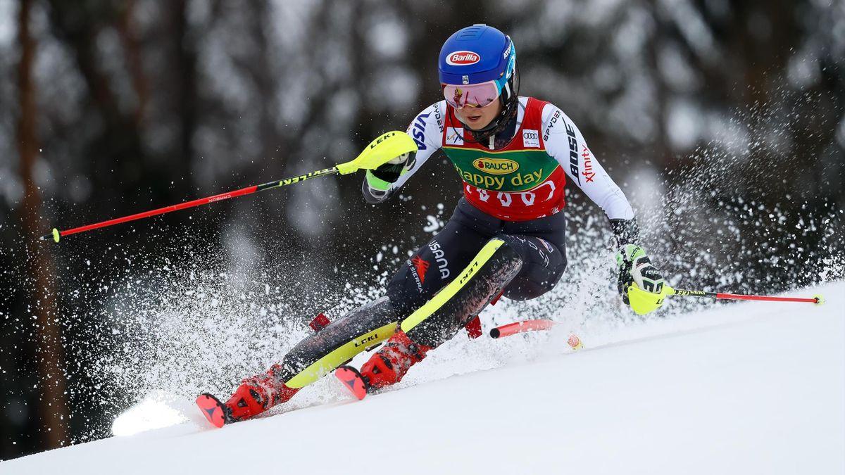 Mikaela Shiffrin en action lors du slalom de Maribor, remporté par l'Américaine le 2 février 2019.