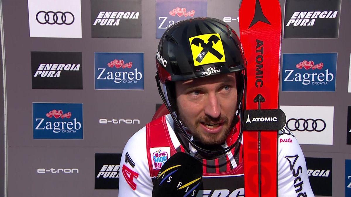 Zagreb, slalom men second run - Interview Hirscher