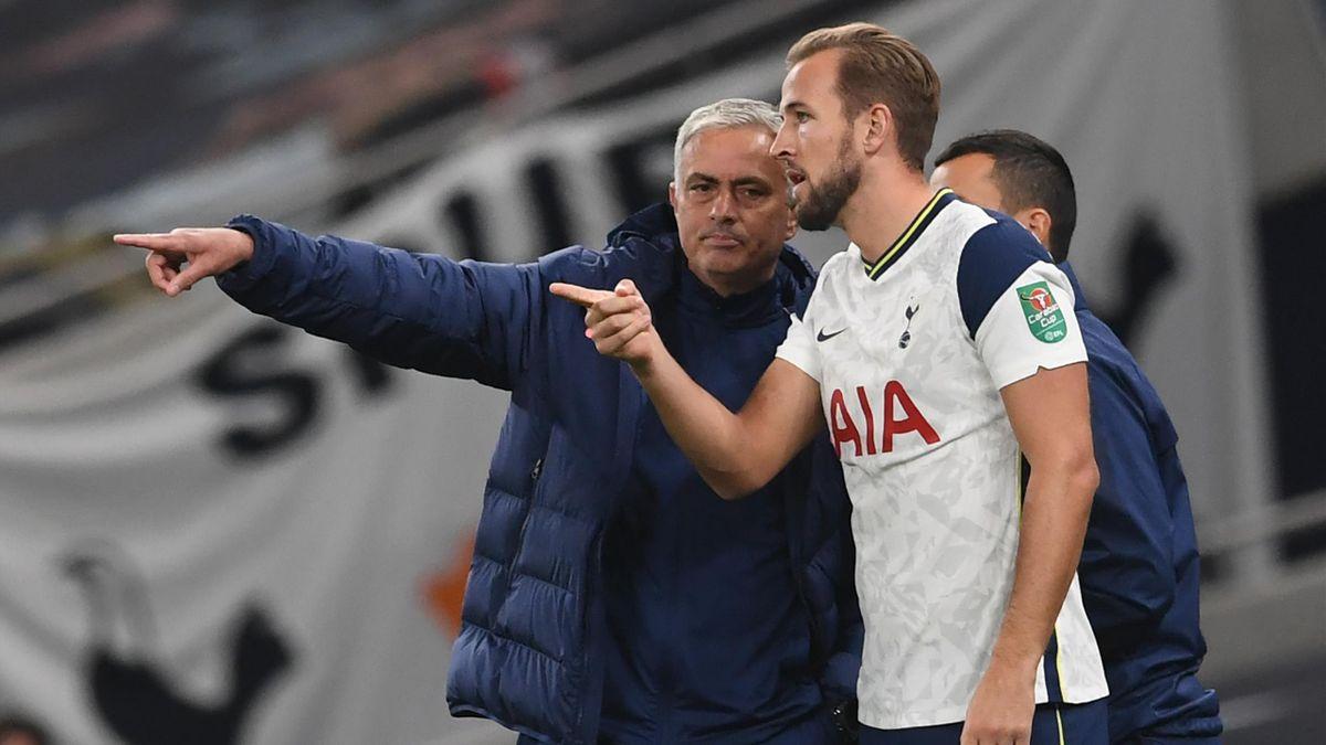 Tottenham boss Jose Mourinho and Harry Kane