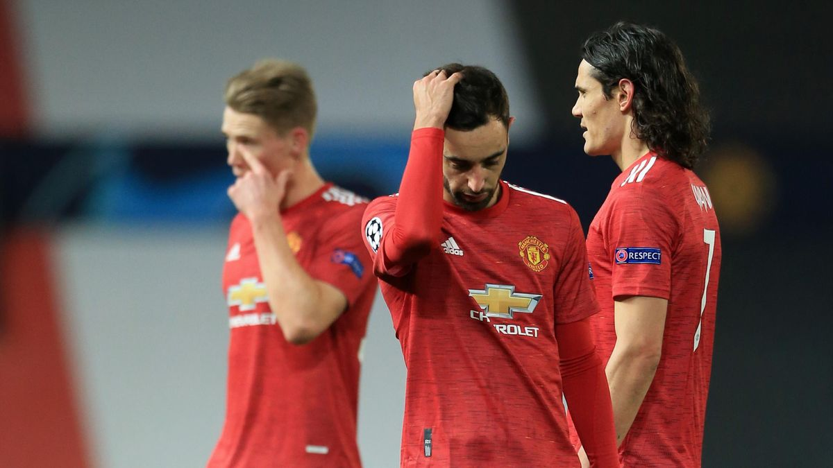 Bruno Fernandes of Manchester United looks dejected during the UEFA Champions League Group H stage match between Manchester United and Paris Saint-Germain at Old Trafford