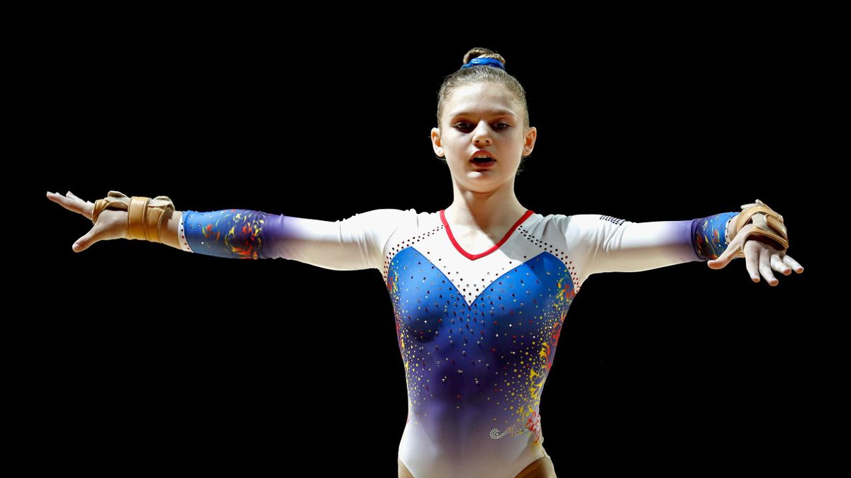 Denisa Golgota of Romania competes in the Women's Individual Floor Final during the gymnastics on Day Four of the European Championships Glasgow 2018