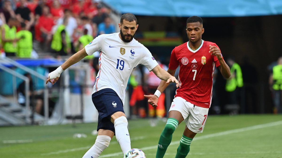 Karim Benzema, au duel avec Loïc Nego lors de Hongrie - France, durant l'Euro 2020, le 19 juin 2021 à Budapest