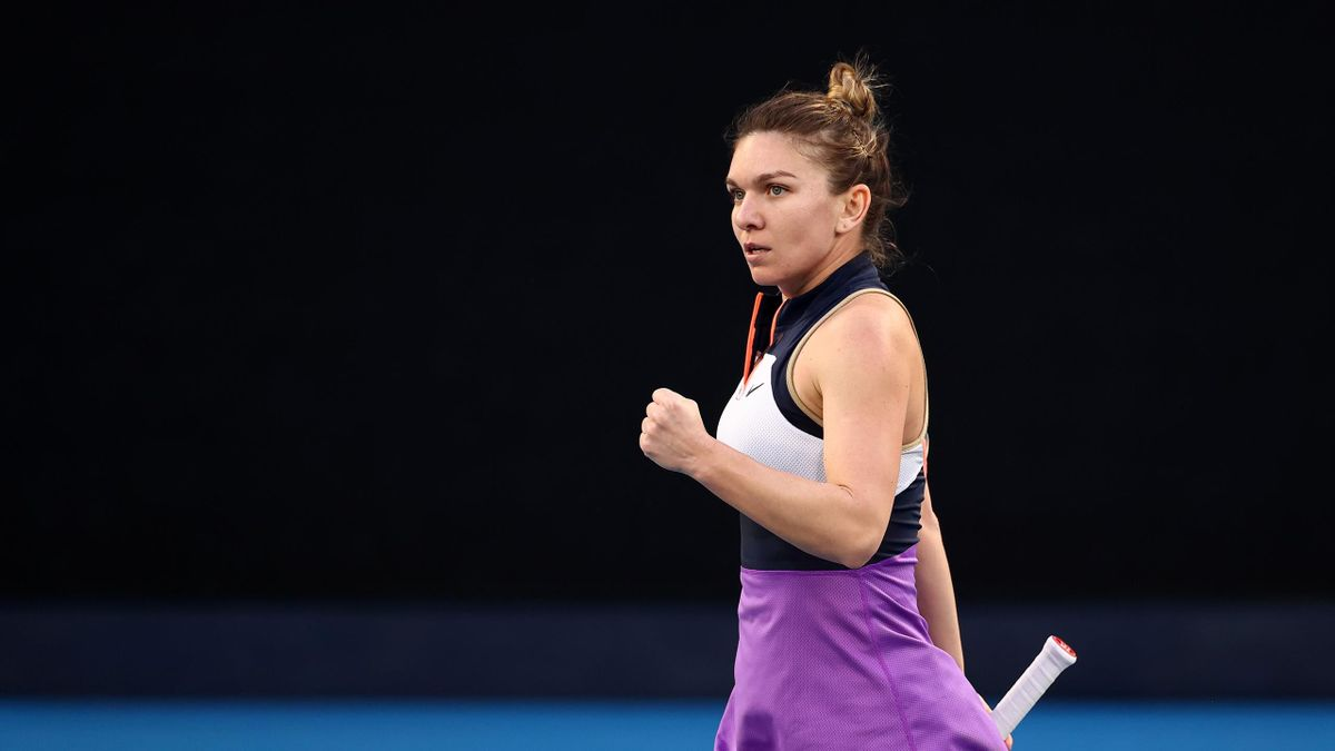 Simona Halep of Romania celebrates after winning a point in her Women's Singles fourth round match against Iga Swiatek of Poland during day seven of the 2021 Australian Open at Melbourne Park