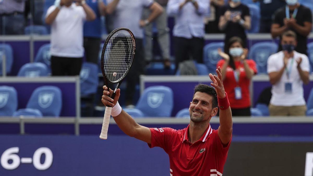 Novak Djokovic celebrates, ATP 250 Belgrade Open, Novak Tennis Centre on May 27, 2021 in Belgrade, Serbia