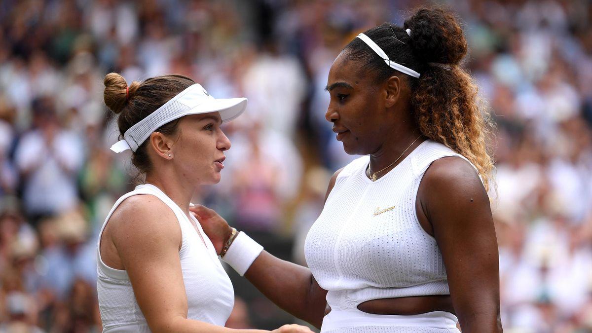 Serena Williams et Simona Halep à Wimbledon en 2019