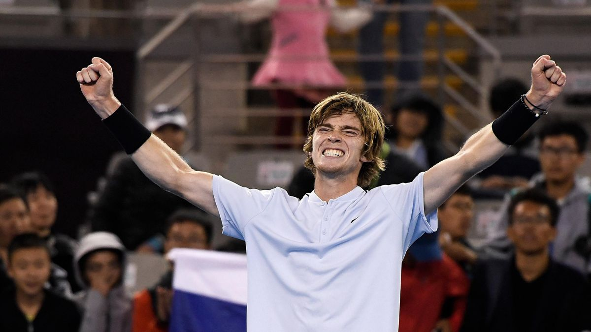 Andrey Rublev of Russia celebrates victory over Tomas Berdych of the Czech Republic during his MenÕs singles second round match on day six of the 2017 China Open at the China National Tennis Centre on October 5, 2017 in Beijing, China.
